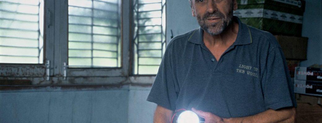 Dr. Dave Irvine-Halliday Holding LED Lamp, 2004